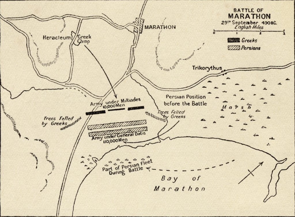 Stock Photo: 1899-20156 Map of the Battle of Marathon which took place in 490 B.C. and was part of the Greco-Persian Wars. From the book Atlas of Ancient and Classical Geography published 1928.