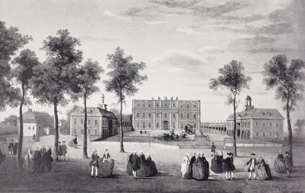 Buckingham House as it was circa 1750. After a contemporary oil painting. The house was the core of today's palace. From the book Buckingham Palace, It's Furniture, Decoration and History by H. Clifford Smith, published 1931. : Stock Photo