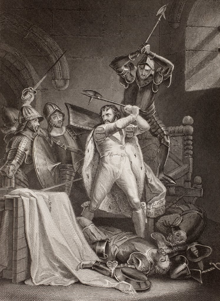The murder of Richard II of England in Pontefract Castle in 1400 as described in the play Richard III by William Shakespeare. From a nineteenth century engraving. : Stock Photo
