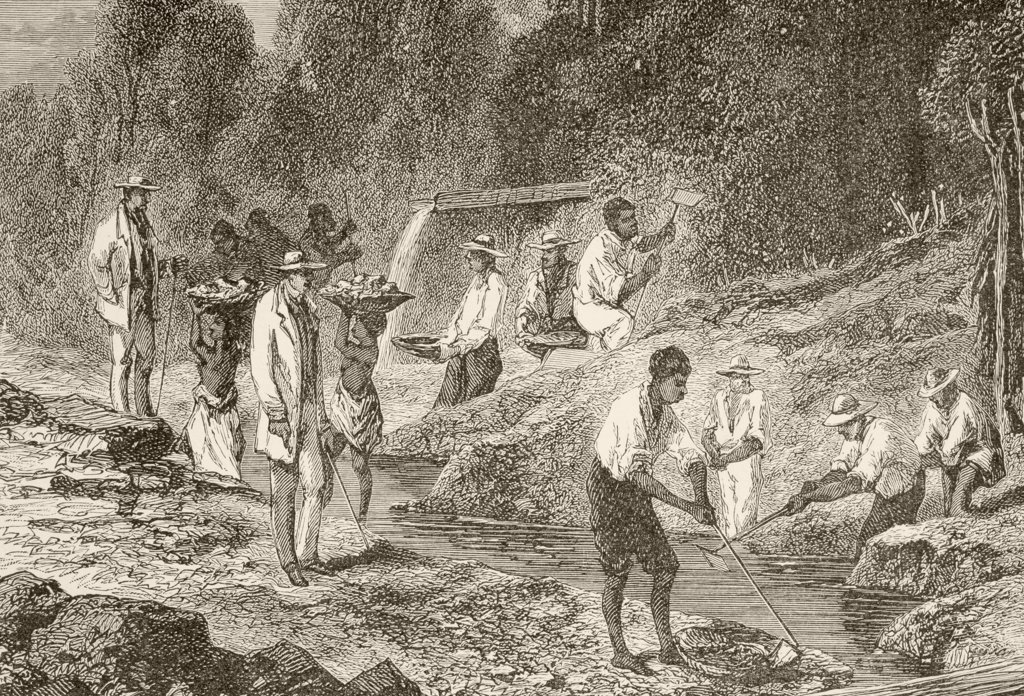 Panning for diamonds. From the book Chips From The Earth's Crust published 1894. : Stock Photo