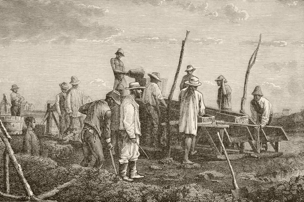 Stock Photo: 1899-20540 Digging for diamonds in South Africa. From the book Chips From The Earth's Crust published 1894.
