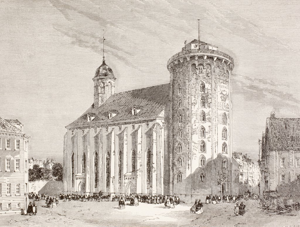 Stock Photo: 1899-20588 The Rundetarn or Round Tower in Copenhagen, Denmark, in the 19th century. From a 19th century illustration.