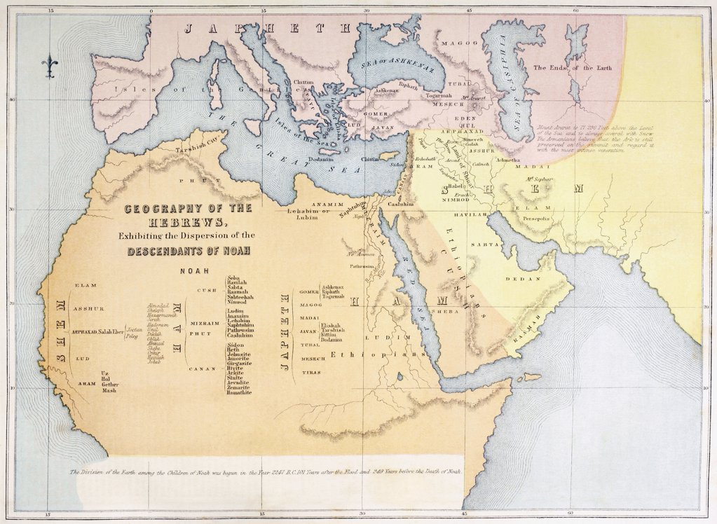 Stock Photo: 1899-20677 Map showing the Geography of the Hebrews and exhibiting the dispersion of the Descendants of Noah. From The Holy Bible published by William Collins, Sons, & Company in 1869.