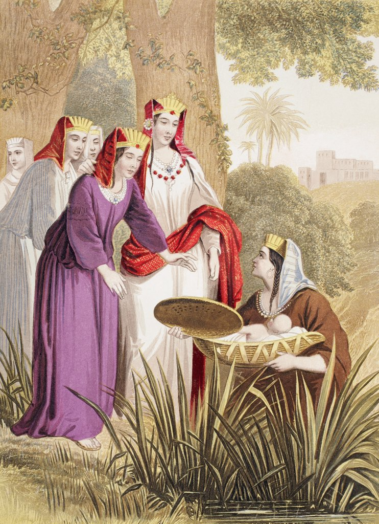 Stock Photo: 1899-20678 The infant Moses is found in the bulrushes on the river bank by the Pharaoh's daughter. From The Holy Bible published by William Collins, Sons, & Company in 1869. Chromolithograph by J.M. Kronheim & Co.