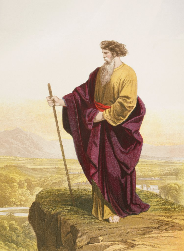 Stock Photo: 1899-20681 Moses viewing the promised land at the end of the exodus. From The Holy Bible published by William Collins, Sons, & Company in 1869. Chromolithograph by J.M. Kronheim & Co.
