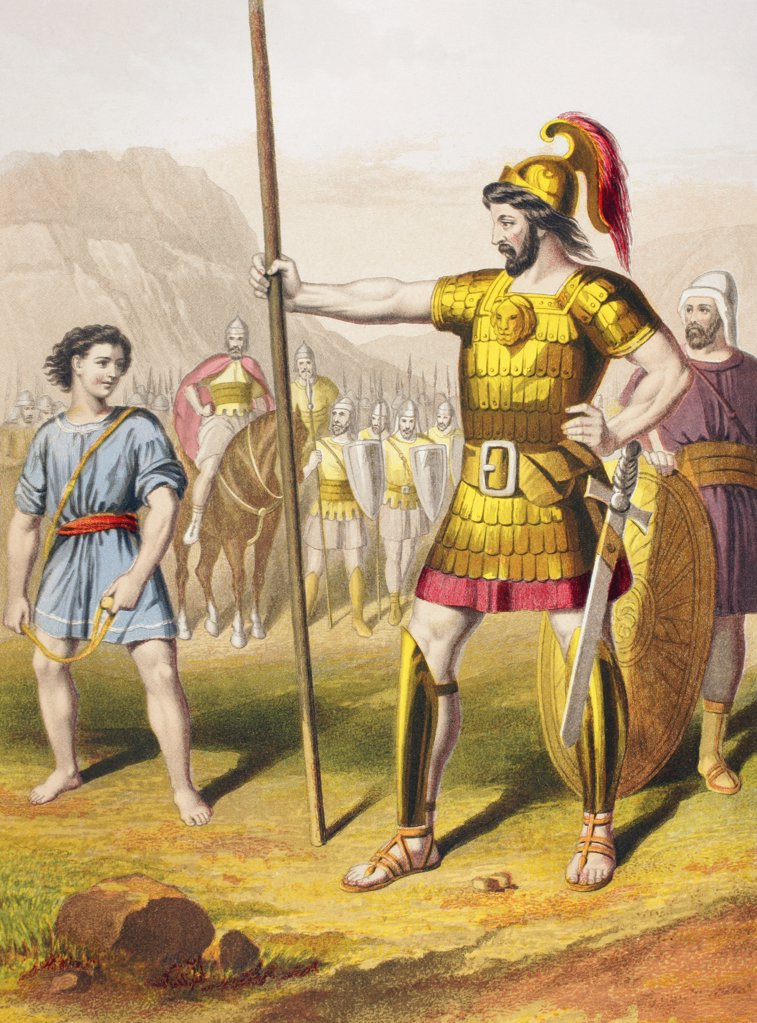 David confronts Goliath. From The Holy Bible published by William Collins, Sons, & Company in 1869. Chromolithograph by J.M. Kronheim & Co. : Stock Photo