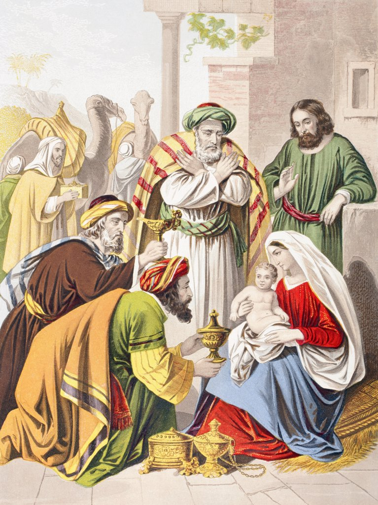 Nativity scene. The three wise men with the Holy Family. One presents a gift to the infant Jesus. From The Holy Bible published by William Collins, Sons, & Company in 1869. Chromolithograph by J.M. Kronheim & Co. : Stock Photo