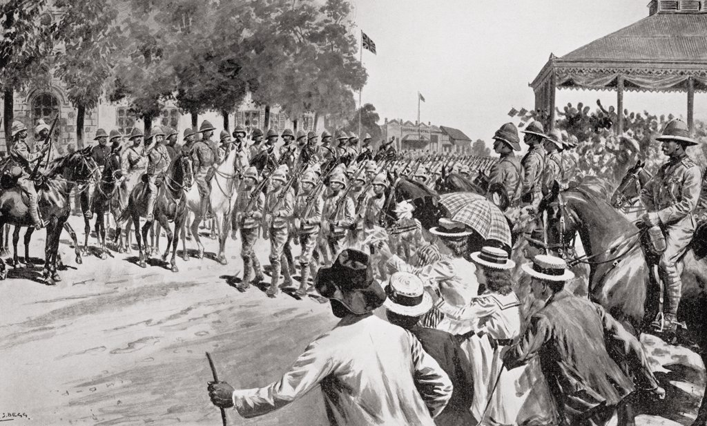The surrender of Kroonstadt during the second Boer War. Troops marching past Lord Roberts and staff. From the book South Africa and the Transvaal War by Louis Creswicke, published 1900. : Stock Photo