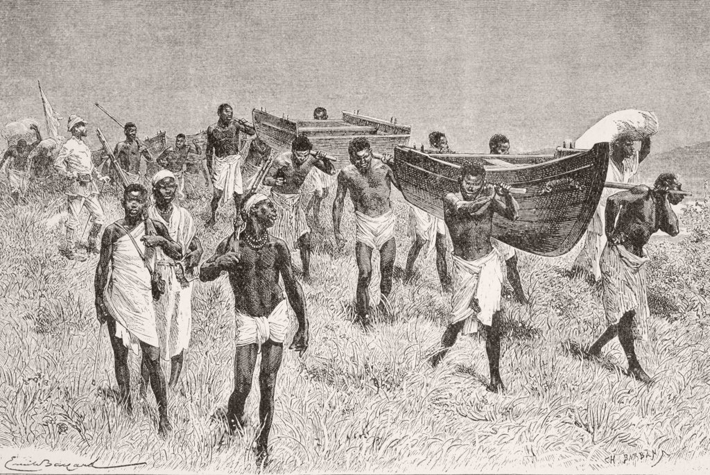 Stock Photo: 1899-20834 African porters carrying Henry Morton Stanley's dismantled boat Lady Alice on his expedition to explore Lake Victoria. From Afrika, dets Opdagelse, Erobring og Kolonisation, published in Copenhagen, 1901.