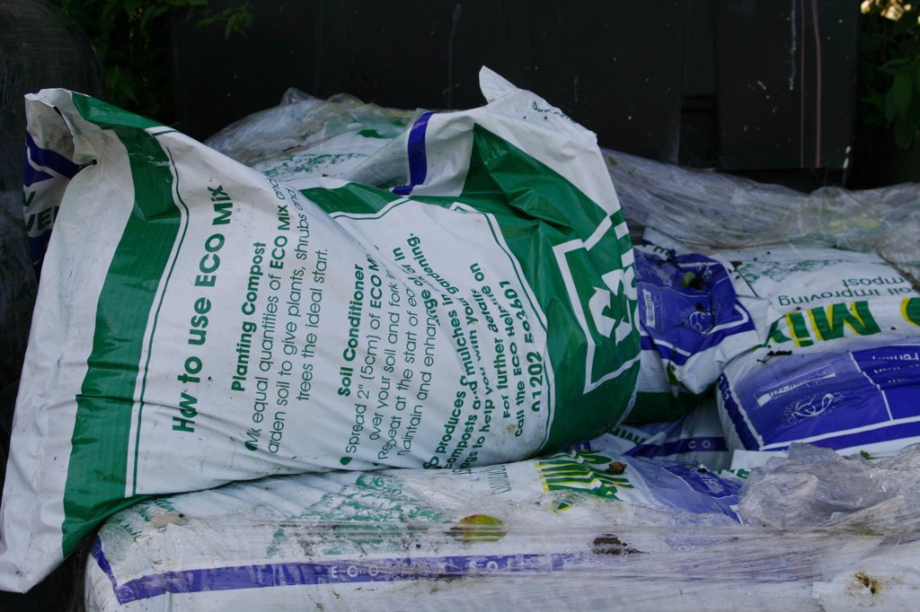 Stock Photo: 1899-21153 Ecobag - compost from domestic waste, United Kingdom.