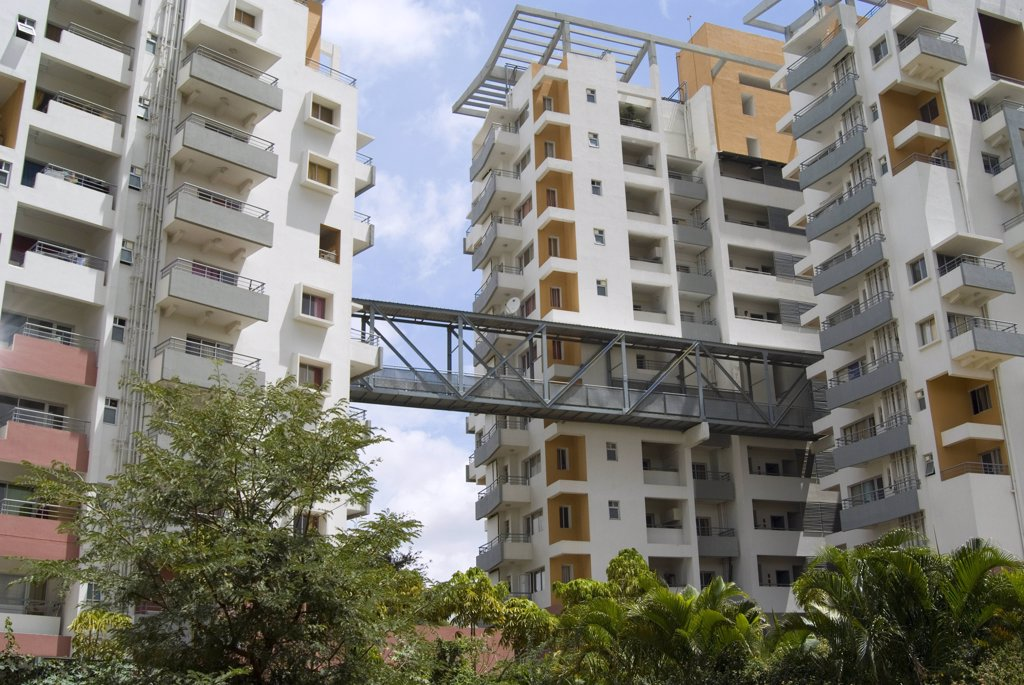 Stock Photo: 1899-21361 Modern luxury 'Harmony Home' appartments, Bangalore with an integrated meditation hall.