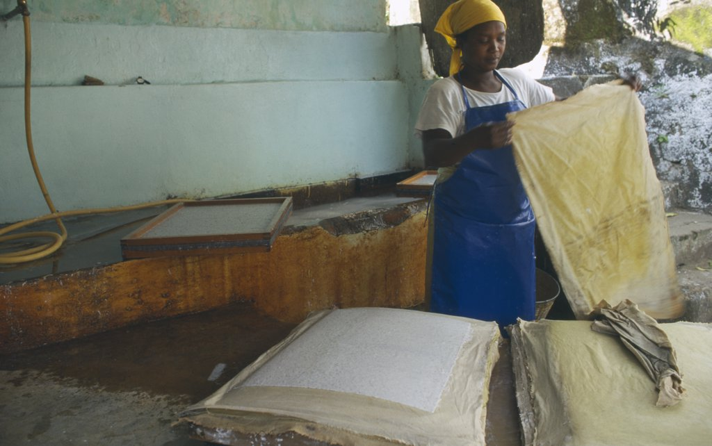 MALAWI Blantyre.  PAMET paper making project, fair trade goods, where everything from newspapers to elephant dung is recycled..  : Stock Photo