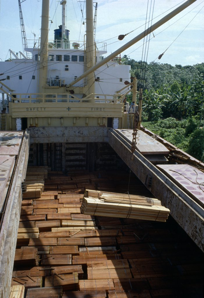 Stock Photo: 1899-21909 BRAZIL Amazon Logging. Timber being loaded onto ship for export..