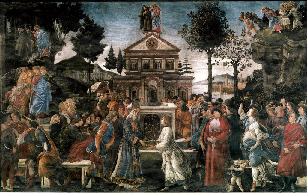 The Purification of the Leper and the Temptation of Christ, by Sandro Filipepi a.k.a Botticelli (1445-1510). . In the foreground, the celebration of a Jewish sacrifice conducted before the temple. The High Priest is receiving the blood-filled sacrificial bowl while several people are bringing animals and wood as offerings. This celebration refers to the crucifixion of Christ for the redemption of mankind. In the background, the different temptations of Christ, with the Devil disguised as a Hermi : Stock Photo
