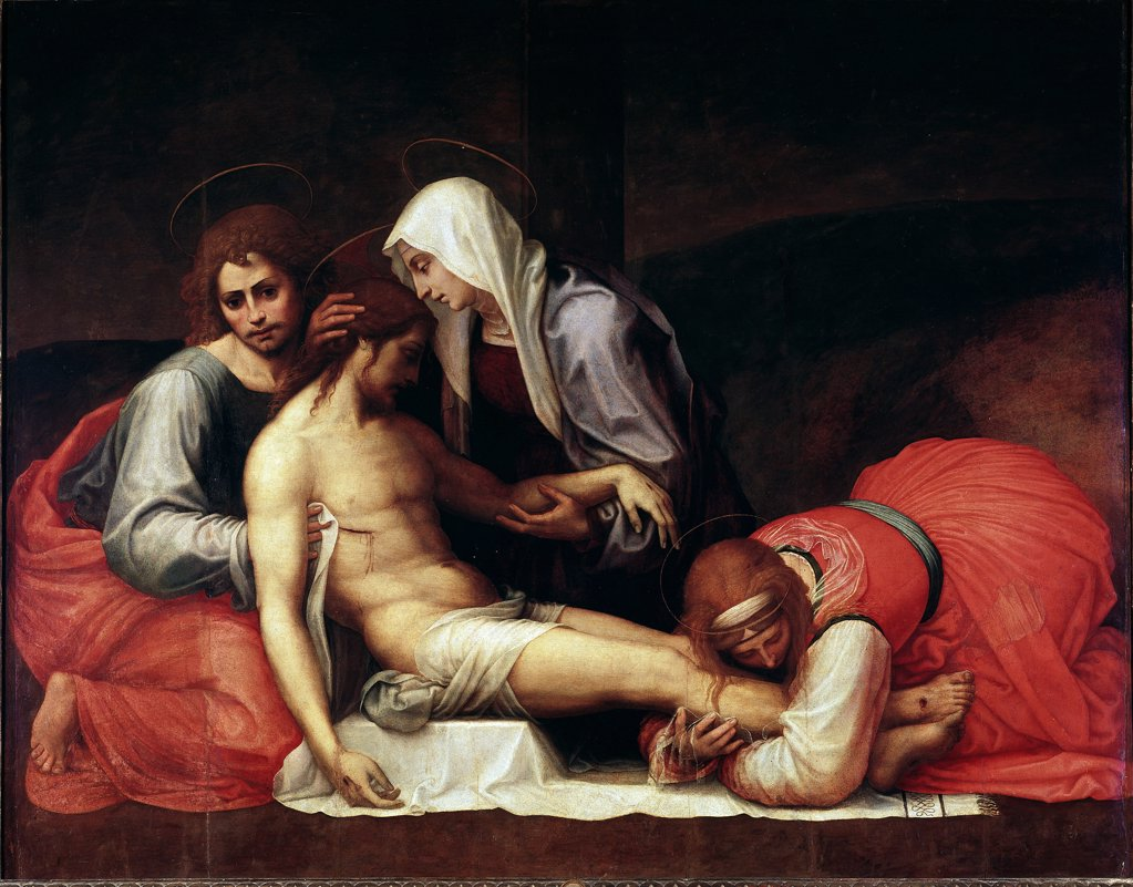 Stock Photo: 1899-23829 Deposition, by Bartolomeo della Porta a.k.a. Fra Bartolomeo (1472-1517). Oil on wood, 158x199 cm, c.1515. Galleria Palatina, Palazzo Pitti, Florence, Italy.