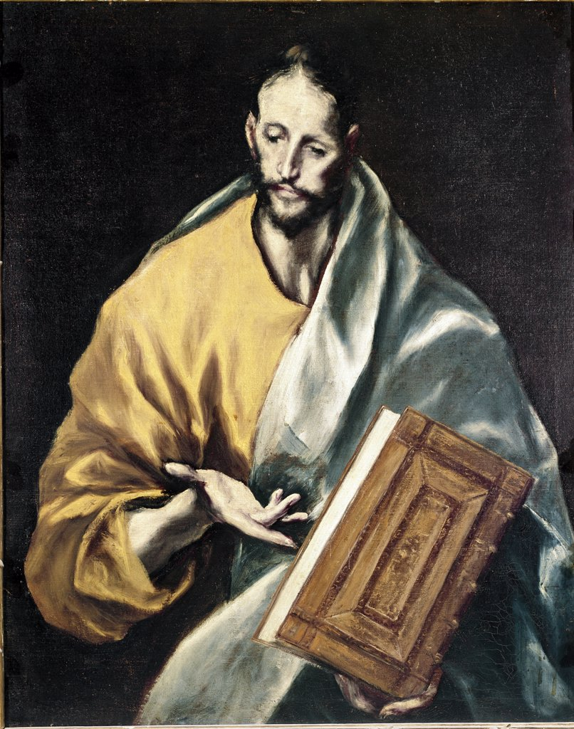 Stock Photo: 1899-23836 Apostolados: Apostle Saint James the Less, by Domenikos Theotokopoulos a.k.a El Greco (1541-1614). Oil on canvas, 100x76 cm, 1602-05. Cathedral of Toledo, Spain.