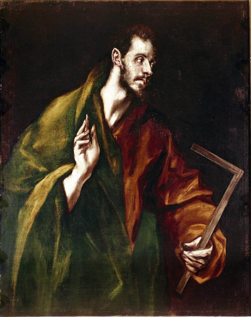 Apostolados: Apostle Saint Thomas, by Domenikos Theotokopoulos a.k.a El Greco (1541-1614). Oil on canvas, 100x76 cm, 1602-05. Cathedral of Toledo, Spain.  : Stock Photo