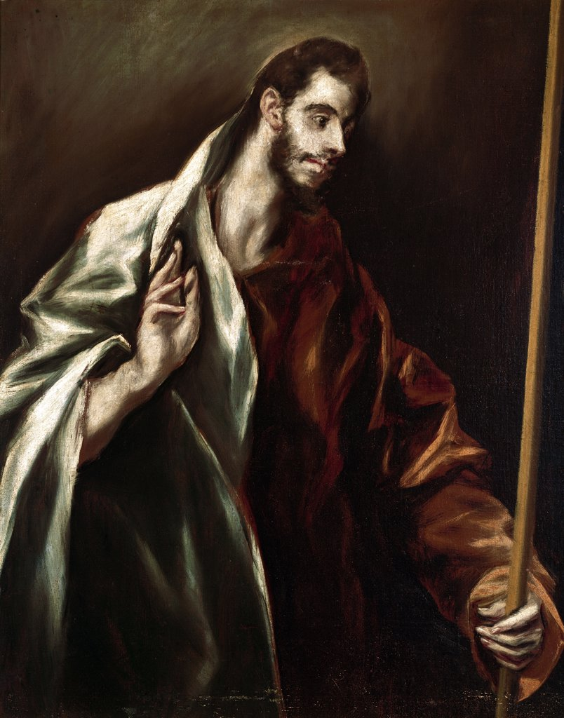 Stock Photo: 1899-23844 Apostle Saint Thomas, by Domenikos Theotokopoulos a.k.a El Greco (1541-1614). Oil on canvas, 97x77 cm, 1610-14. El Greco House-Museum, Toledo, Spain.