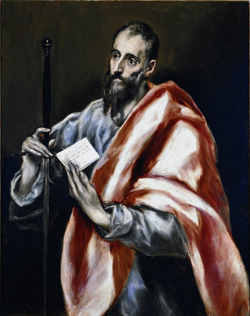 Apostle Saint Paul, by Domenikos Theotokopoulos a.k.a El Greco (1541-1614). Oil on canvas, 97x77 cm, 1610-14. El Greco House-Museum, Toledo, Spain.  : Stock Photo