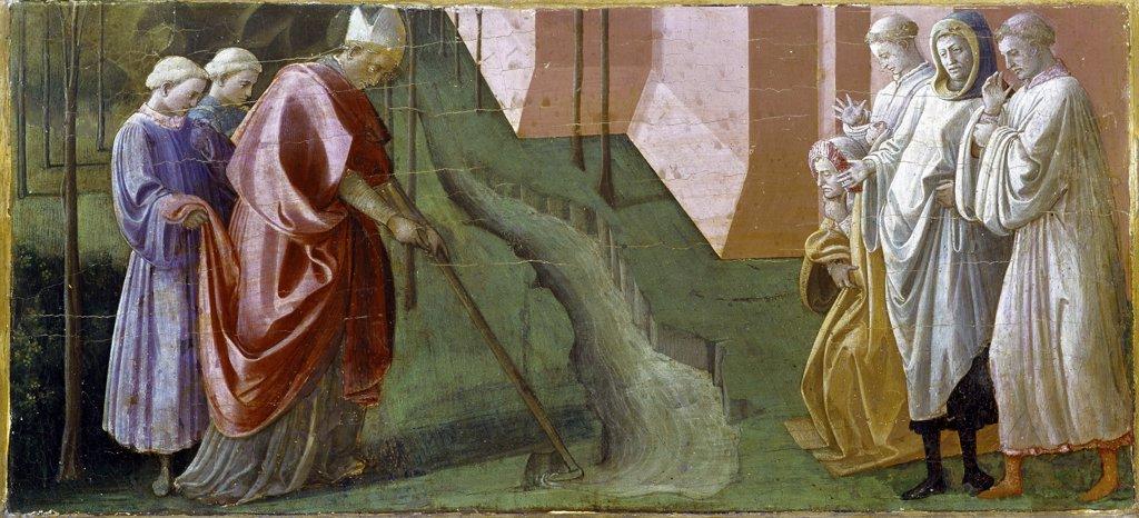 Predella of the Barbadori Altarpiece, by Fra Filippo Lippi (c.1406-1469). Saint Frigidian changing the course of the Serchio. Tempera on wood. Galleria degli Uffizi, Florence, Italy.  : Stock Photo