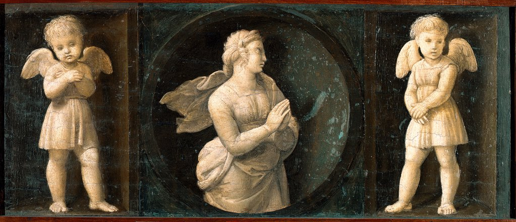 Baglioni Retable : Theological Virtues : Hope, by Raffaello Sanzio a.k.a Raphael (1483-1520). Oil on wood, 16x44 cm, 1507. Pinacoteca, Vatican Museums, Vatican State.  : Stock Photo