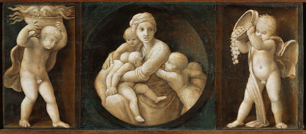 Stock Photo: 1899-23871 Baglioni Retable : Theological Virtues : Charity, by Raffaello Sanzio a.k.a Raphael (1483-1520). Oil on wood, 16x44 cm, 1507. Pinacoteca, Vatican Museums, Vatican State.