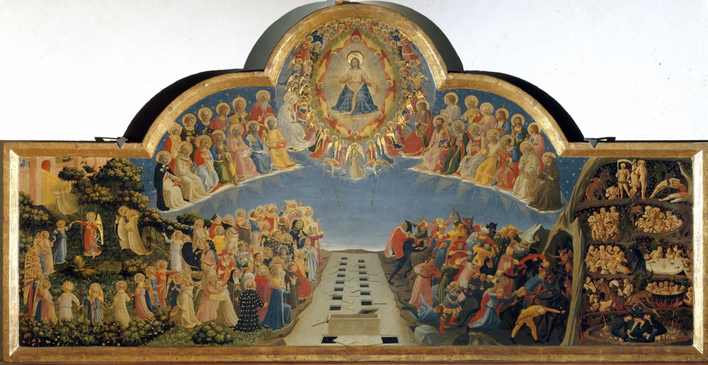 The Last Judgement, by Guido da Pietro (or Fra Giovanni da Fiesole) a.k.a Fra Angelico or il Beato (1400-1455). Tempera on wood, 105x210 cm, 1432-35. Museo di San Marco, Florence, Italy.  : Stock Photo