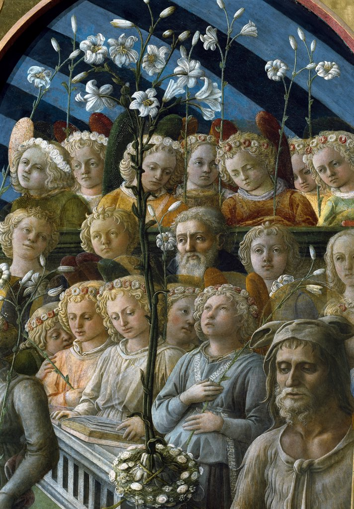 Coronation of the Virgin, by Filippino Lippi (1457-1504). Detail. Tempera on wood, 200x287 cm, 1441-47. Galleria degli Uffizi, Florence, Italy.  : Stock Photo