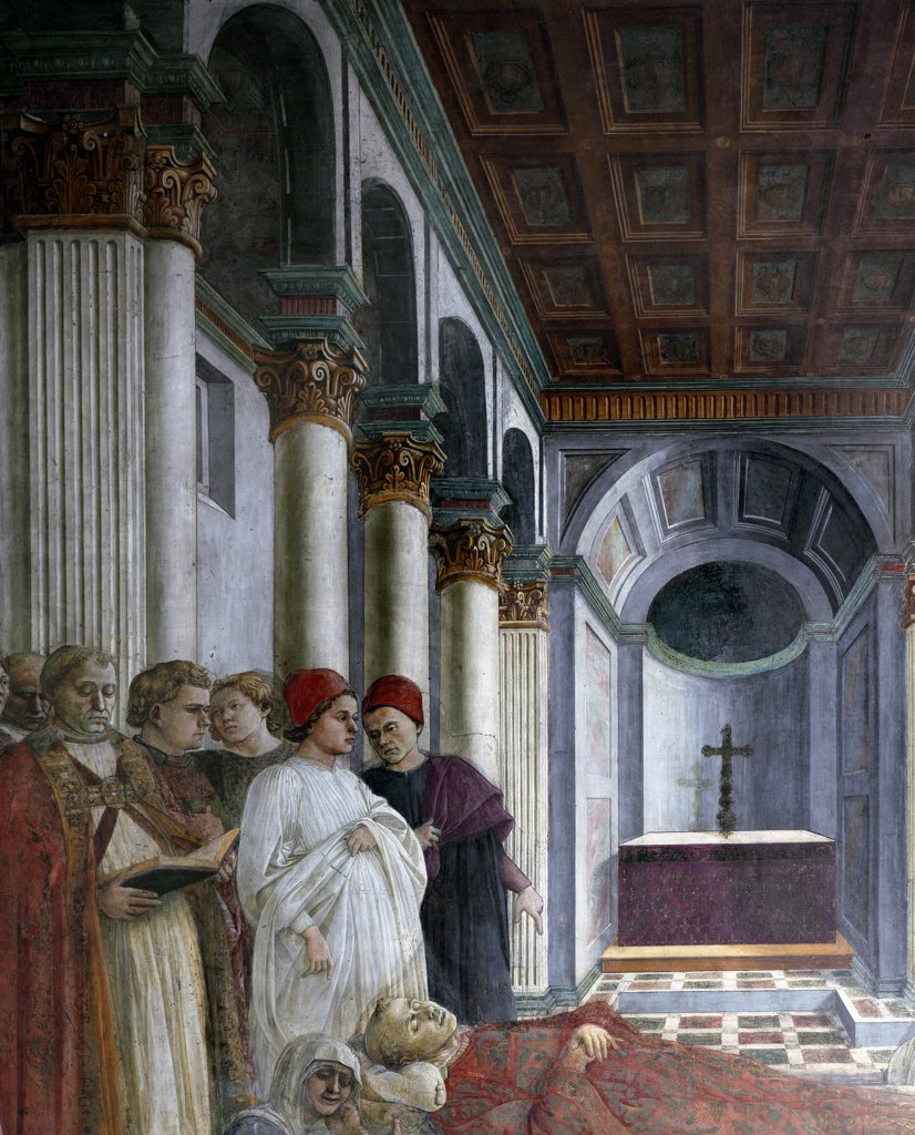 Stories from the Life of St. Stephen: Funeral, by Filippo Lippi (c.1406-1469). Detail. Fresco, 1452-65. Cathedral of Santo Stefano, Prato, Italy.  : Stock Photo