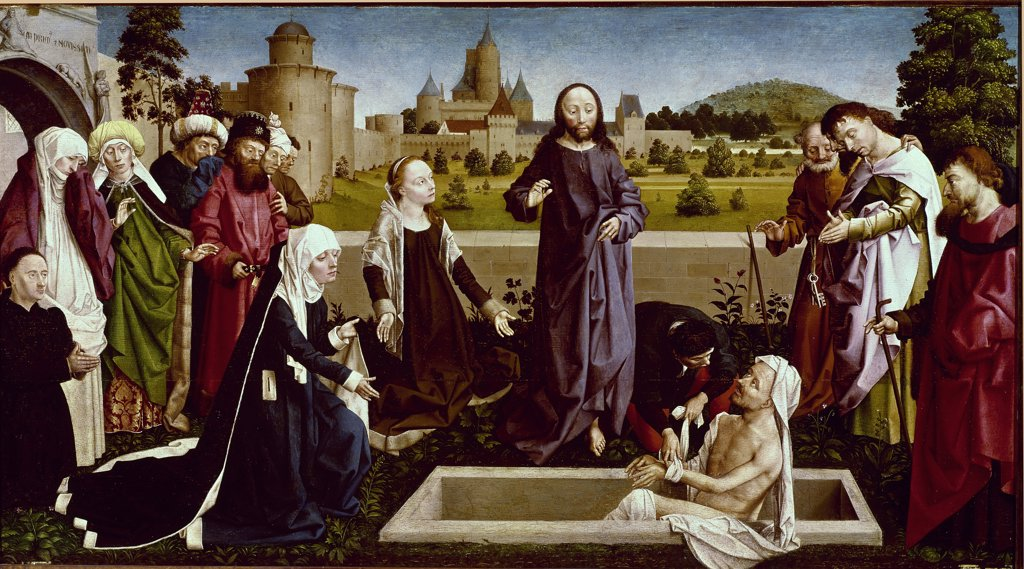 Stock Photo: 1899-23887 The Raising of Lazarus, by the Coetivy Master (Nicolas d'Amiens), 15th - 16th Century. Oil on panel. Musee du Louvre, Paris, France.