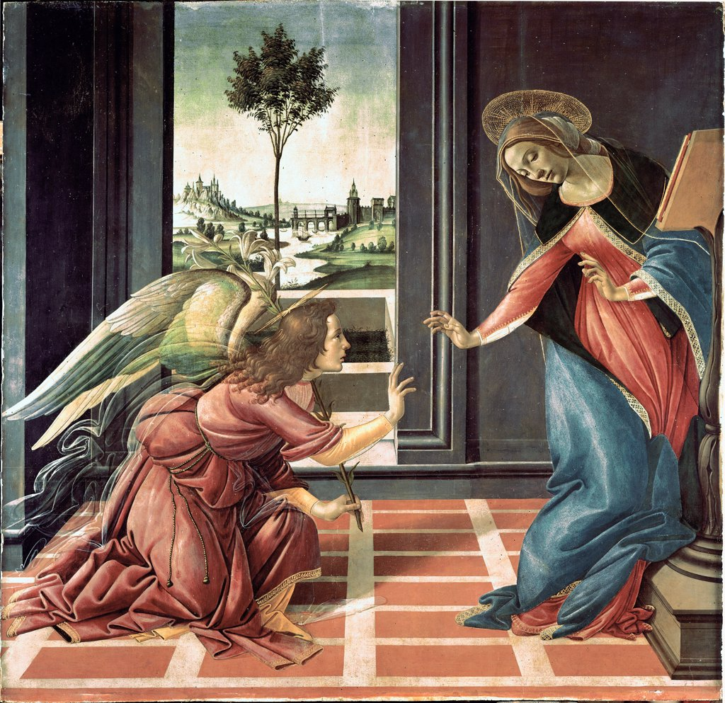 The Annunciation, by Sandro Filipepi a.k.a Botticelli (1445-1510). Tempera on wood, 150x156 cm, 1489-90. Galleria degli Uffizi, Florence, Italy.  : Stock Photo