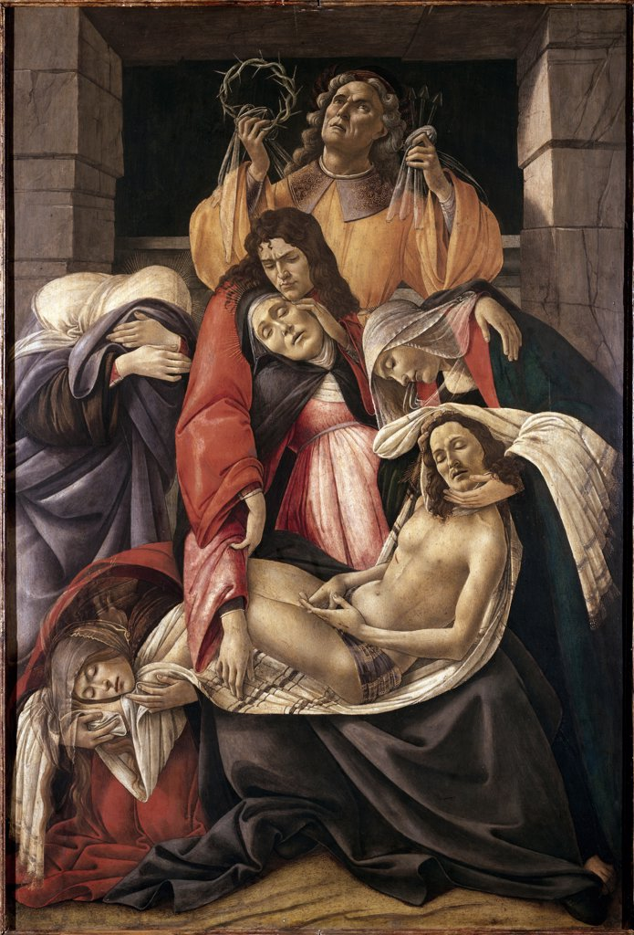 Stock Photo: 1899-23893 Lamentation over the dead Christ, by Sandro Filipepi a.k.a Botticelli (1445-1510). Tempera on wood, 107x71 cm, c.1495. Museo Poldi Pezzoli, Milan, Italy.