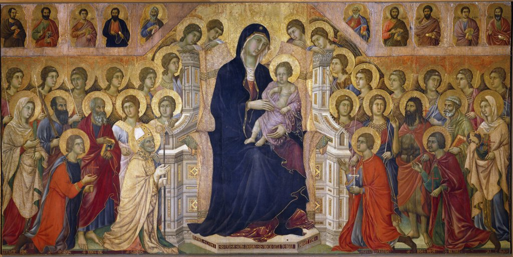 Maesta, by Duccio di Buoninsegna (1255-c.1318). Enthroned Madonna and Child with saints and angels, Central panel. Tempera on wood, 214x412 cm, 1308-11. Museo dell' Opera Metropolitana, Siena, Italy.  : Stock Photo