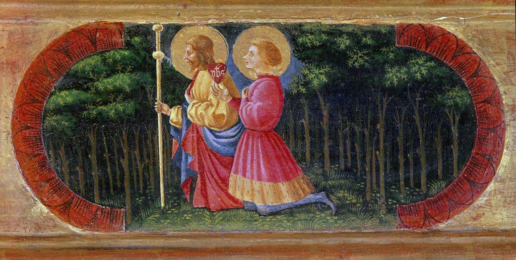 Stock Photo: 1899-23901 Saints James and Ansano (Quarate Predella), by Paolo di Dono detto a.k.a. Paolo Uccello, (1397-1475). Tempera on wood, 20x178 cm, 1435-40. Museo Arcivescovile di Cestello, Florence, Italy.