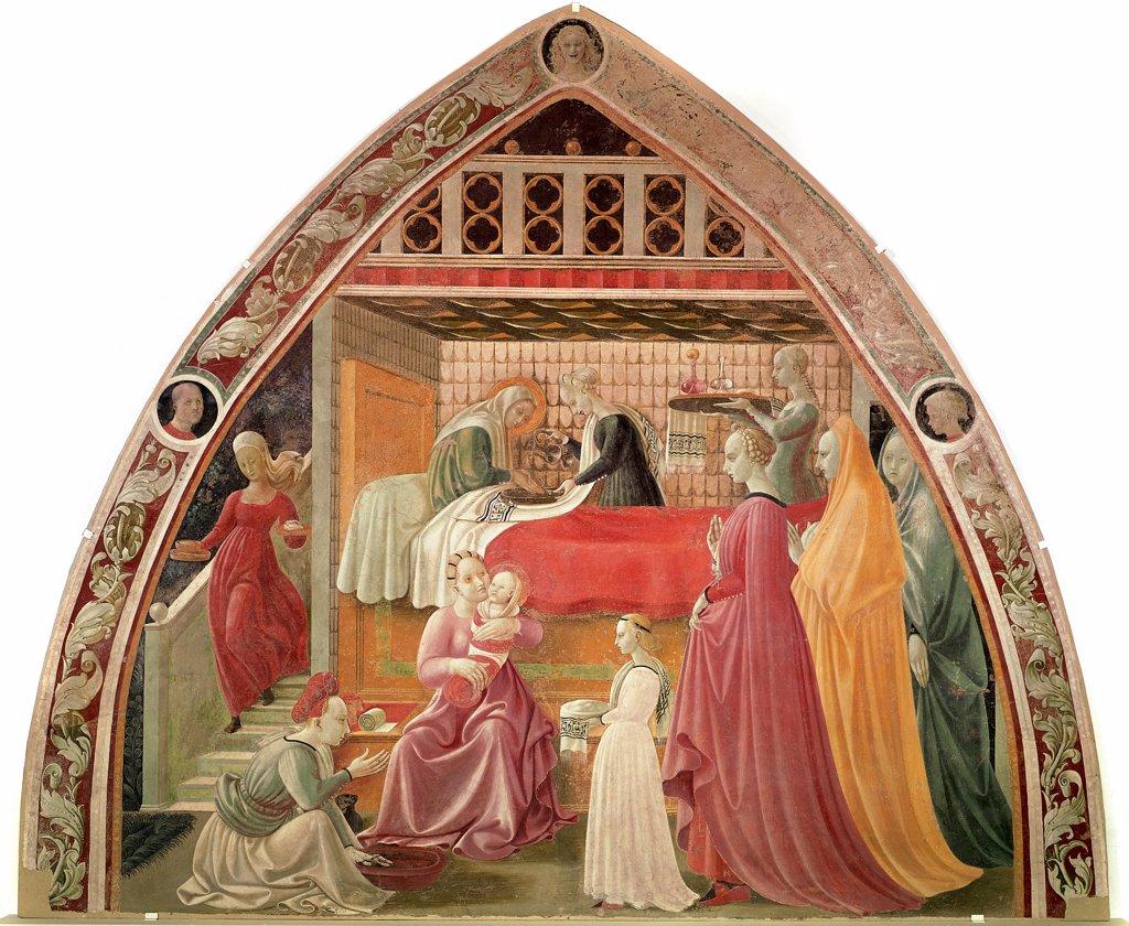 Stock Photo: 1899-23902 Birth of the Virgin, by Paolo di Dono detto a.k.a. Paolo Uccello, (1397-1475). Fresco, 302x361cm , 1435-40. Museo dell' Opera del Duomo, Prato, Italy.