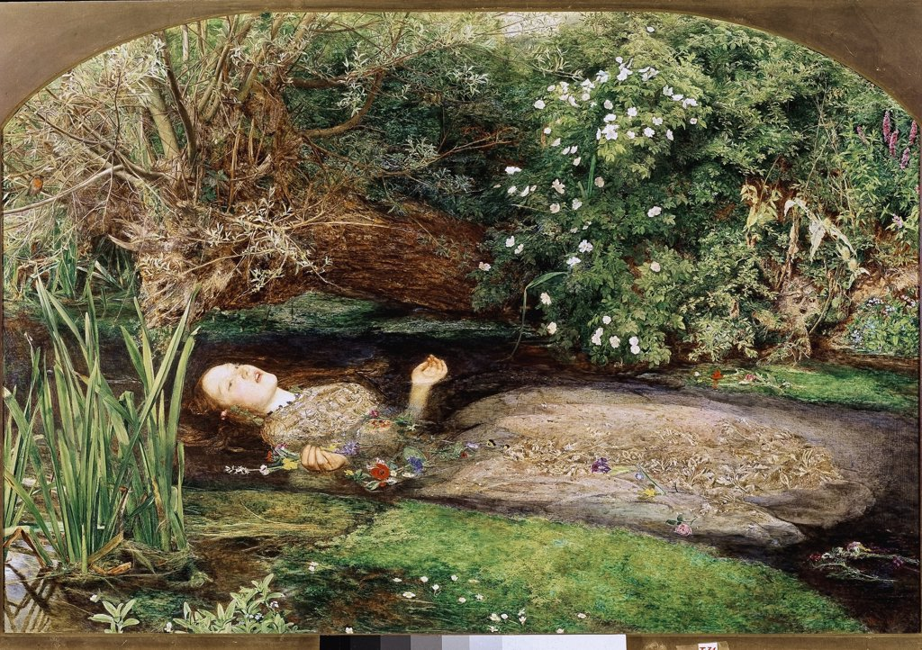 Stock Photo: 1899-23921 Ophelia, by John Everett Millais (1829-96). Oil on canvas, 76,2 x111,8 cm, 1851-2. Tate Gallery, London, UK.