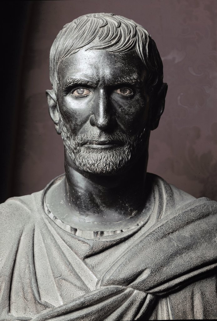 Capitoline Brutus, by an Etruscan artist. Bronze, H79 cm, c.300 BC. Musei Capitolini, Rome, Italy.  : Stock Photo