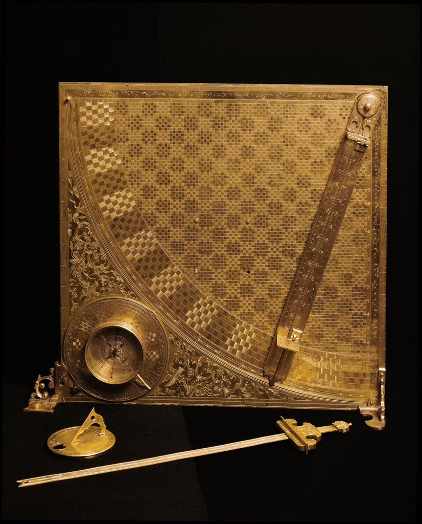 Universal Quadrant, made by Tobias Volckmerfor. Suitable for performing mathematical, astronomical, astrological, and military operations. Gilt copper, 35,7 cmx35,7cm, 1608. Istituto e Museo di Storia delle Scienze, Florence, Italy.  : Stock Photo