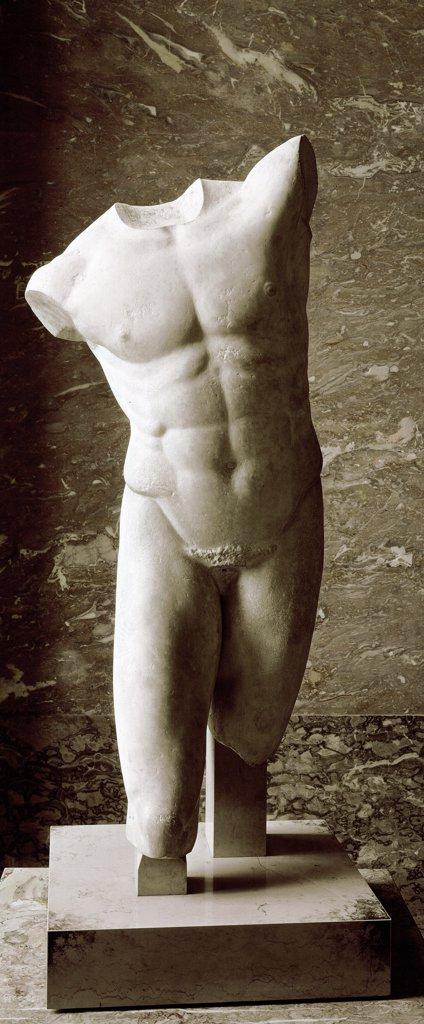 Greek Art: Male torso a.k. Pollux. Marble H123 cm, 5th-4th cent BC. Musee du Louvre, Paris, France.  : Stock Photo