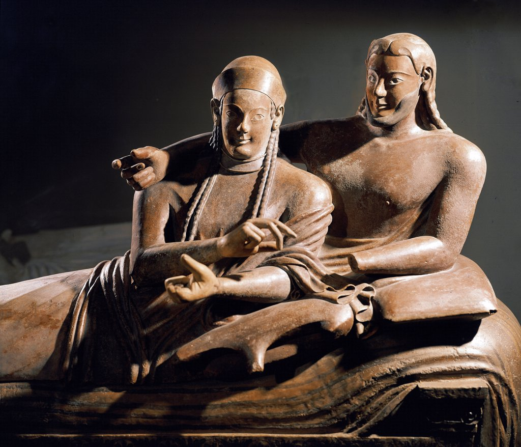 Stock Photo: 1899-24076 Etruscan Art: Sarcophagus of a married couple on a funeral bed,from Cerveteri. Detail. Terracotta, 525-500 BC. Musee du Louvre, Paris, France.