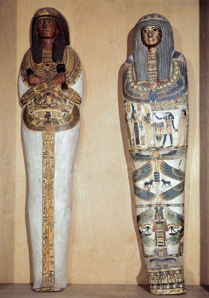 Stock Photo: 1899-24088 Egyptian Antiquities: Sarcophagus of Panebmontou (left), 21st Dynasty (1069-945 BC), and Sarcophagus of Djedkhonsouioufankh (right), Intermediate Period (1069-664 BC). Paris, Musee du Louvre, France.