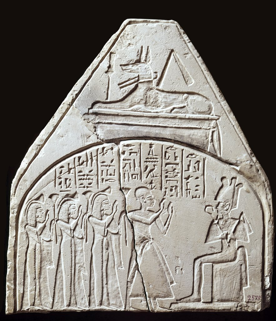 Stock Photo: 1899-24093 Egyptian Antiquities: Stela showing the adoration of Osiris. Musee du Louvre, Paris, France.