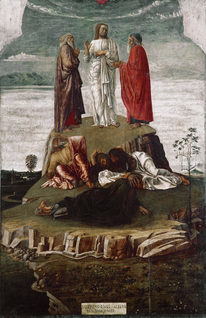 Transfiguration of Christ, by Giovanni Bellini a.k.a Giambellino (c.1432-1516). Tempera on wood, 134x68 cm, 1455. Museo Correr, Venice, Italy .  : Stock Photo