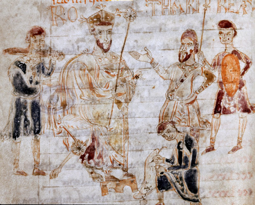 Lombard King Rotario Dictating the Law. From the Codex Legum Longobardorum, 11th century. Abbey Cava de' Tirreny, Italy .  : Stock Photo