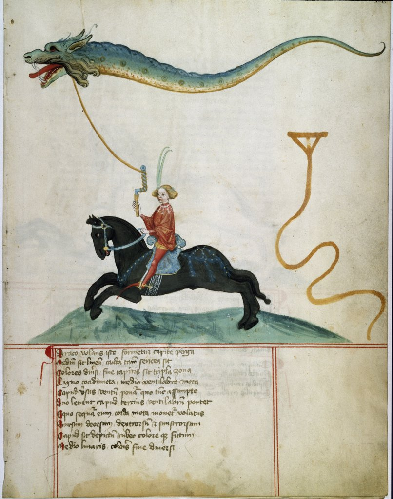 Knight Flying a Dragon as a Kite. Illumination, 1405. German School, 15th century. University Library, Gottingen, Germany .  : Stock Photo