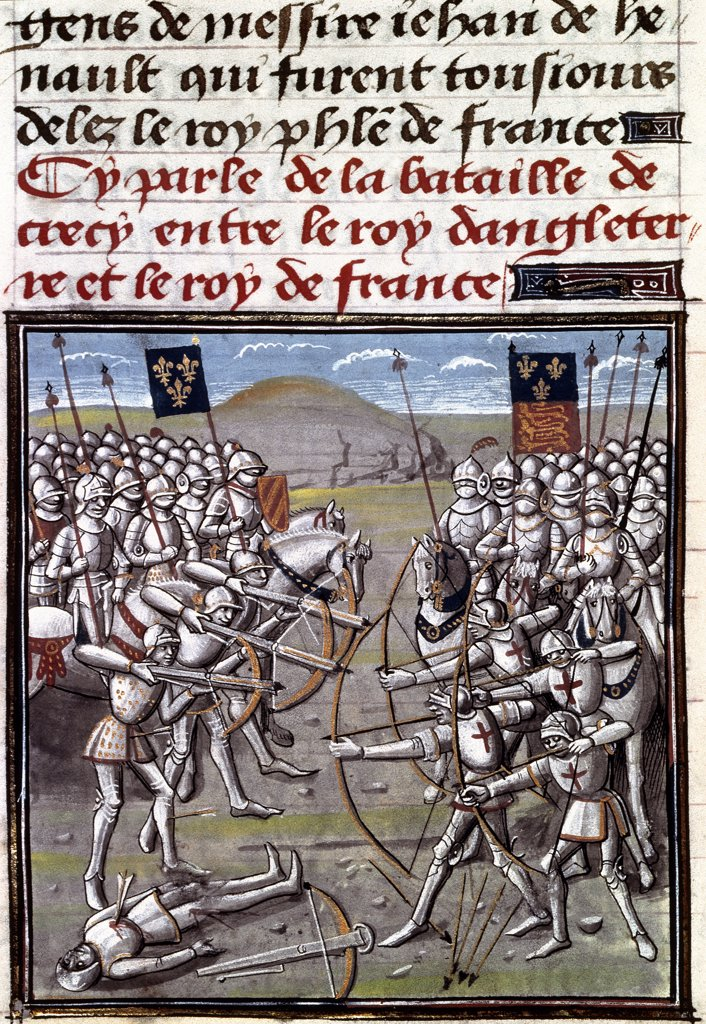 Battle of Crecy (26th August 1364). Illumination. Bibliotheque de l'Arsenal, Paris, France .  : Stock Photo