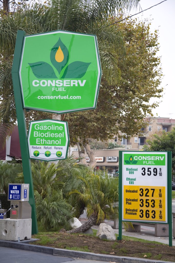 Stock Photo: 1899-24509 Conserv Fuel, Green Gas Station, Brentwood, Los Angeles County, California, USA.