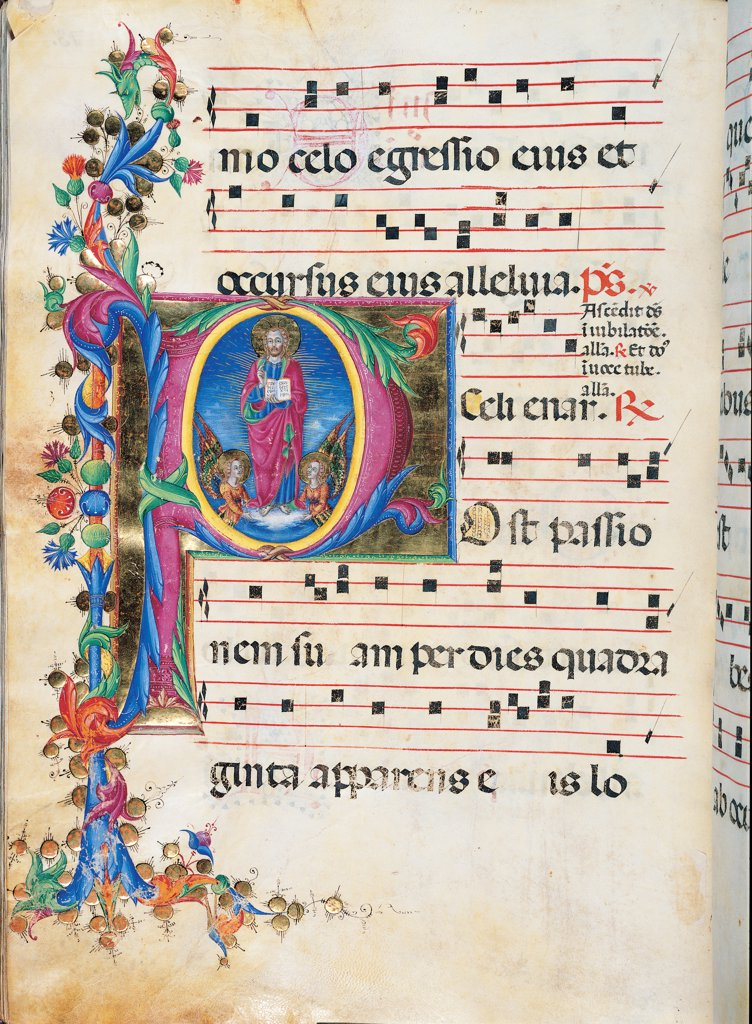 Stock Photo: 1899-30076 Day and night Antiphonary from Holy Saturday to the 10th Sunday after Pentecost, by Anonymous Sienese painter, 15th Century, illuminated manuscript. Italy, Tuscany, Siena, Osservanza Basilica. Whole artwork. Illuminated page with the Ascension of Christ page score notes music chant square incipit: beginning initial letter Jesus man halo: aureole clouds angels book Holy Scriptures plant volutes blue red yellow green.