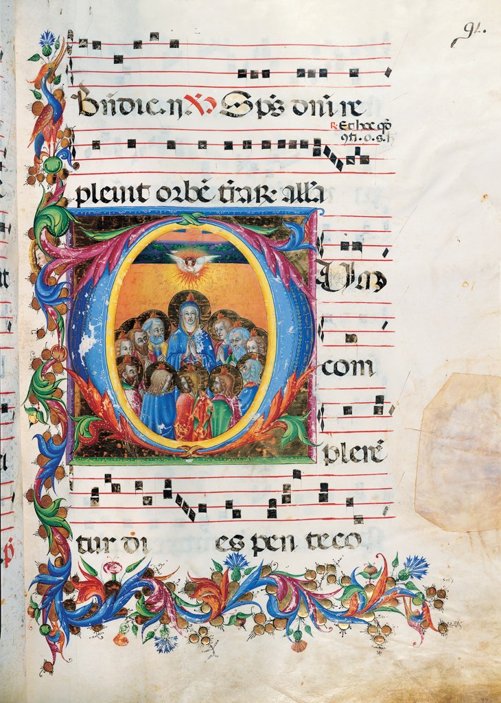 Day and night Antiphonary from Holy Saturday to the 10th Sunday after Pentecost, by Anonymous Sienese painter, 15th Century, illuminated manuscript. Italy, Tuscany, Siena, Osservanza Basilica. Whole artwork. Illuminated page with the Pentecost page score notes music chant square incipit: beginning initial letter Virgin Mary Madonna apostles light dove Holy Spirit: Holy Ghost little flames heads halos: aureoles plant vol. : Stock Photo
