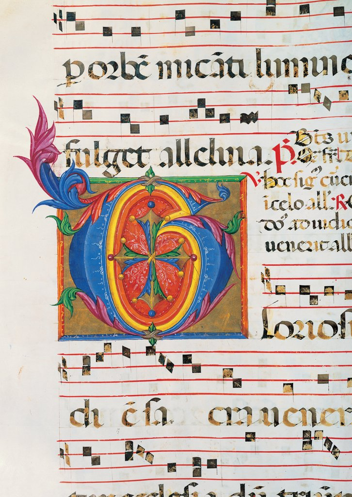 Stock Photo: 1899-30079 Day and night Antiphonary from Holy Saturday to the 10th Sunday after Pentecost, by Anonymous Sienese painter, 15th Century, illuminated manuscript. Italy, Tuscany, Siena, Osservanza Basilica. Detail. Gloriosus illuminated page score notes music chant plant volutes square initial letter incipit: beginning prayer blue red yellow green.